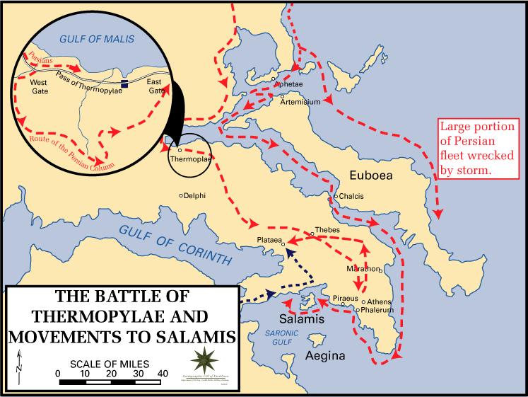 Battle of Thermopylae - Battle of Thermopylae Movements to Salamis