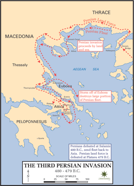 Battle of Platae - Persian Invasion Routes (480 BCE)
